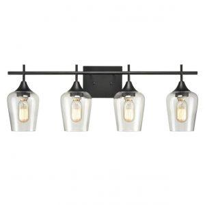 Industrial 4-Light Black Vanity Lighting Jar Glass Wall Sconces
