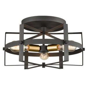 Industrial Black Flush Mount Ceiling Light with Metal Frame Shade