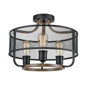Industrial Black Semi Flush Mount Ceiling Light Metal Mesh Shade Wood Finish
