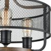 Industrial Black Semi Flush Mount Ceiling Light Metal Mesh Shade Wood Finish