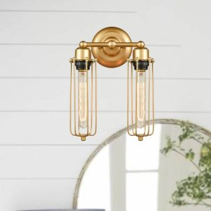 Industrial Brass 2-Light Metal Cage Wall Sconces