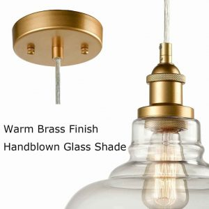 Industrial Brass Glass Pendant Lights Kitchen Island Pendant Lighting