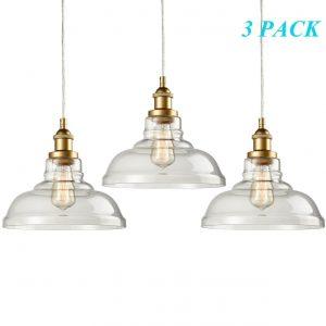 Industrial Brass Glass Pendant Lights Kitchen Island Pendant Lighting