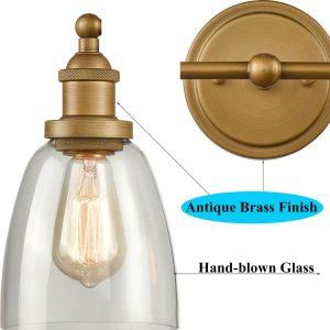 Industrial Brass Glass Sconces 2-Light Bathroom Vanity Lighting