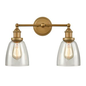 Industrial Brass Glass Sconces 2-Light Bathroom Vanity Lighting