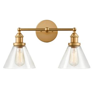 Industrial Glass 2 Light Hardwired and Plug in Brass Bath Wall Sconce