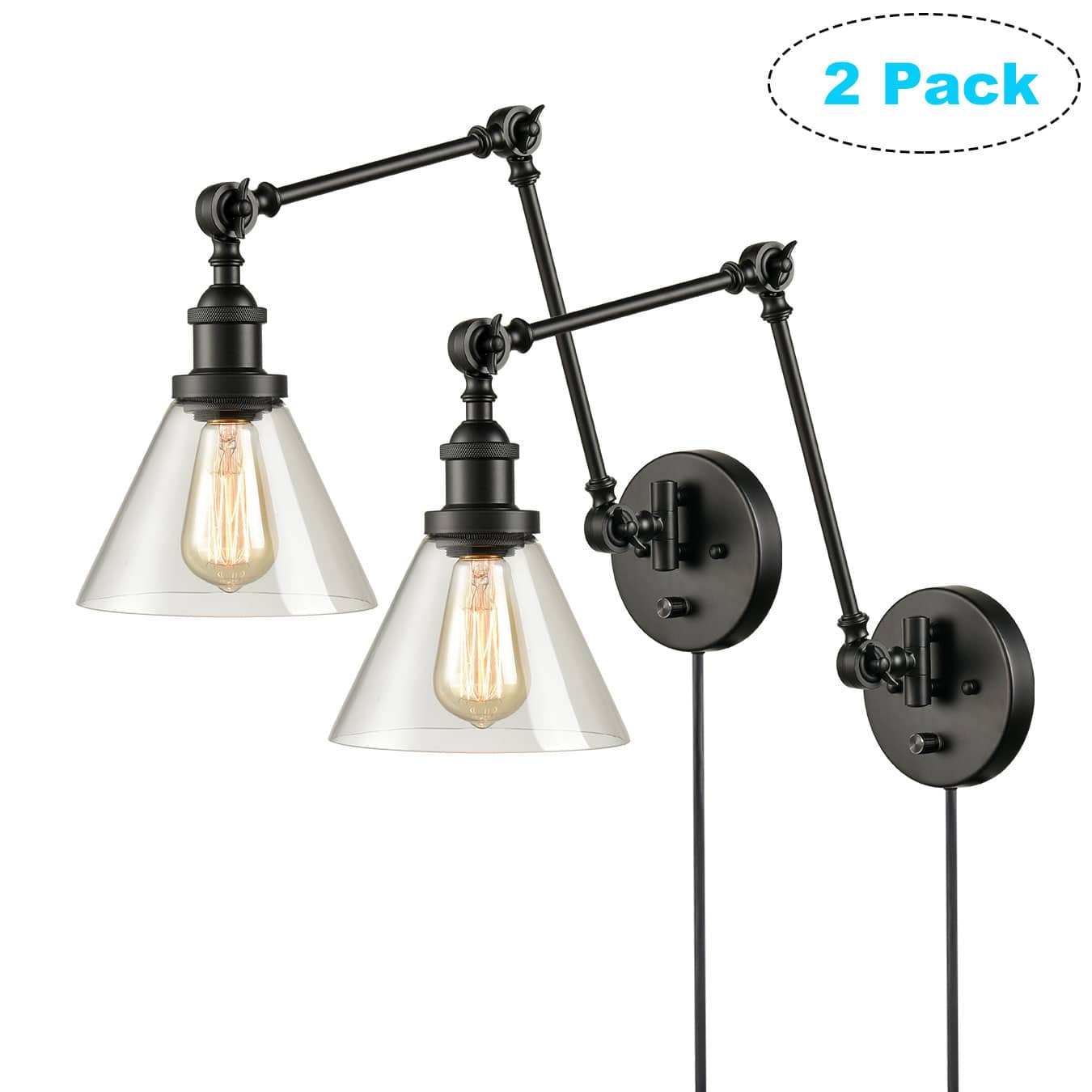 Industrial Glass Sconces Plug in Wall Lights Swing Arm Wall Lamps 2 Pack