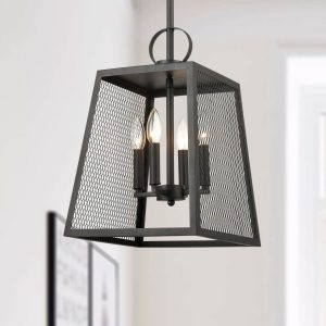 Industrial Matte Black Pendant Light Hanging Foyer Lantern Fixture
