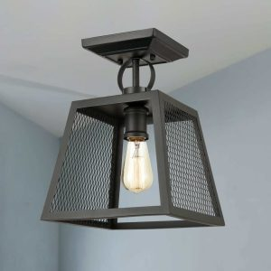 Industrial Matte Black Semi Flush Mount Ceiling LightS Foyer Ceiling Fixture