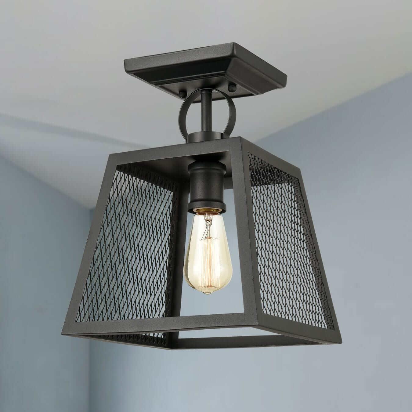 Industrial Matte Black Semi Flush Mount Ceiling LightS Foyer Ceiling Fixture