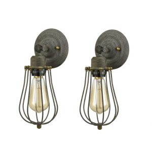 Industrial Metal Cage Rustic Farmhouse Wall Sconces, 2 Pack
