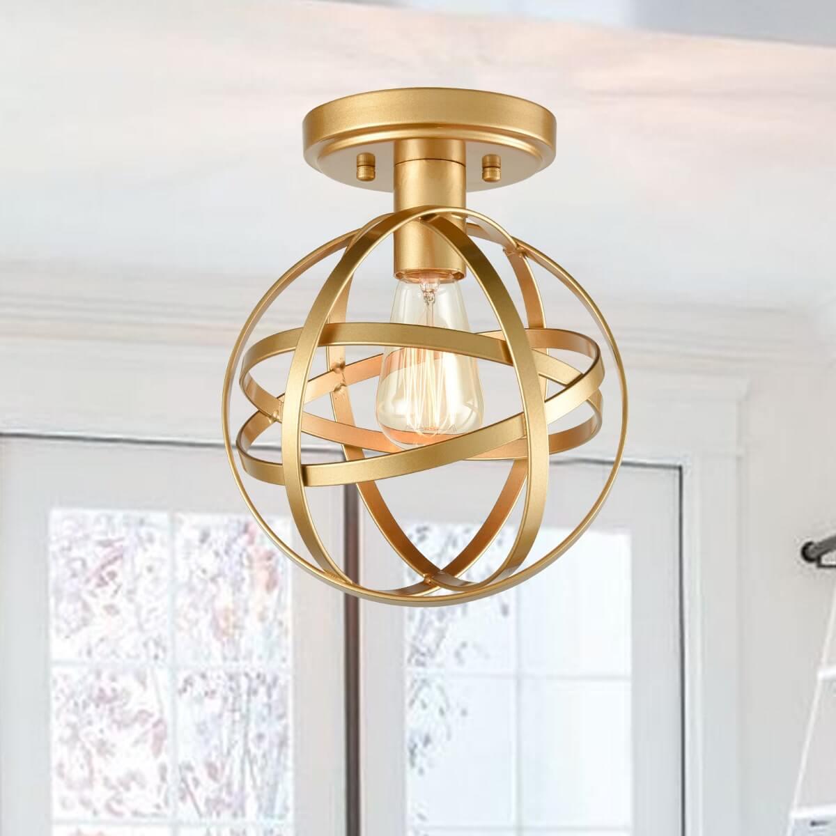 Industrial Flush Mount Ceiling Light Brass Globe Hallway Light