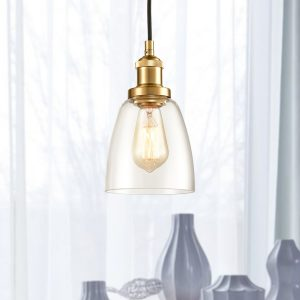 Industrial Mini Glass Bell Brass Kitchen Island Pendant Lighting
