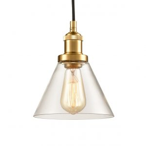 Industrial Mini Glass Pendant Lights Brass Finish Cone Shape
