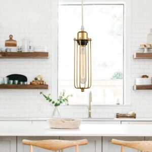 Industrial Mini Metal Cage Brass Pendant Lighting