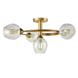 Industrial Modern Brass 4 Light Semi-flush Mount Ceiling Lights Glass Shade