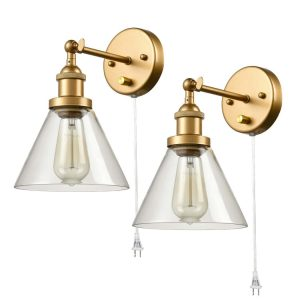 Industrial Modern Brass Swing Arm Hardwired & Plug in Wall Sconces