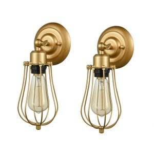 Industrial Modern Metal Cage Brass Wall Sconces, 2 Pack