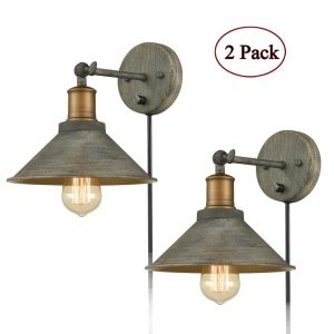 Industrial Rustic Swing Arm Hardwired & Plug-in Wall Sconce-2 Pack