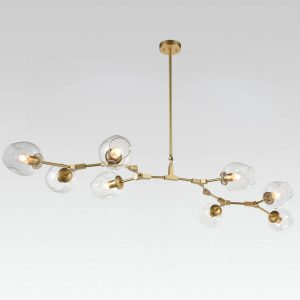 Large Gold Modern Chandeliers with Glass Shade 8 Lights