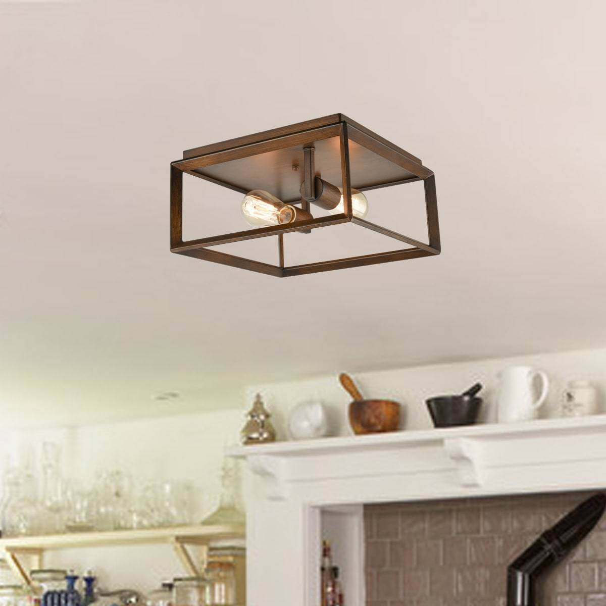 Rustic Square Cage Flush Mount Ceiling Light-2 Light