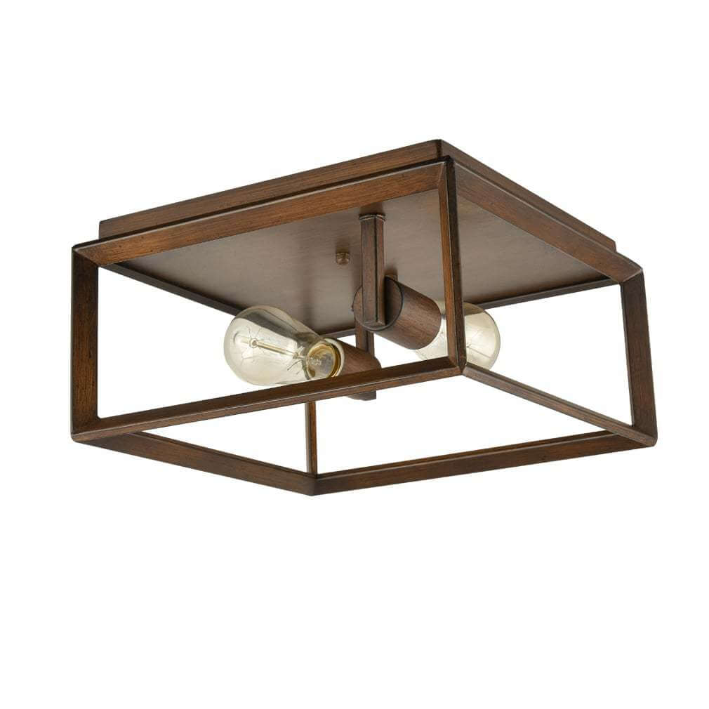 Metal Square Cage Flush Mount Rosewood Ceiling Lights