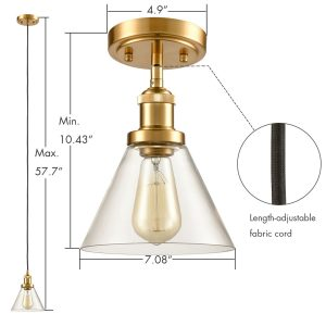 Mini Brass Industrial Pendant Lamp-3 Pack Glass Fixture