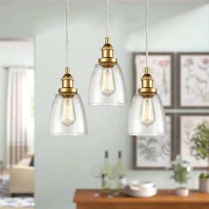 Mini Glass Bell Brass Kitchen Island Pendant Lighting 3 Pack