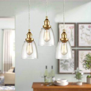 Mini Glass Bell Brass Kitchen Island Pendant Lighting 3 Pack