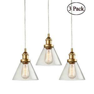 Mini Glass Pendant Lights Brass Kitchen Island Pendant Lighting 3 Pack