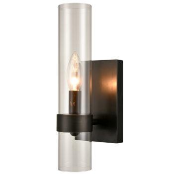 Modern Black Wall Sconce Cylinder Glass for Bathroom