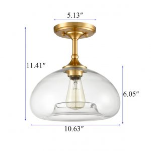 Modern Brass Finish Clear Glass Ceiling Lights Flush Mount