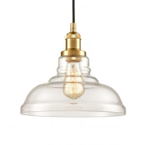 Modern Brass Glass Pendant Lights Barn Shape Kitchen Lamps