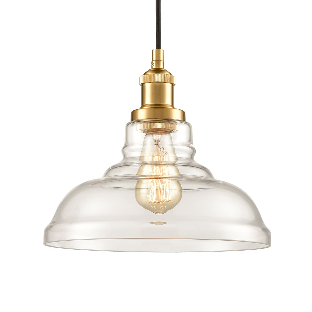 Modern Brass Glass Pendant Lights Barn Shape Kitchen Lamps