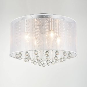 Modern Chrome Flush Mount Drum Shade 4-lights Crystal Ceiling Light