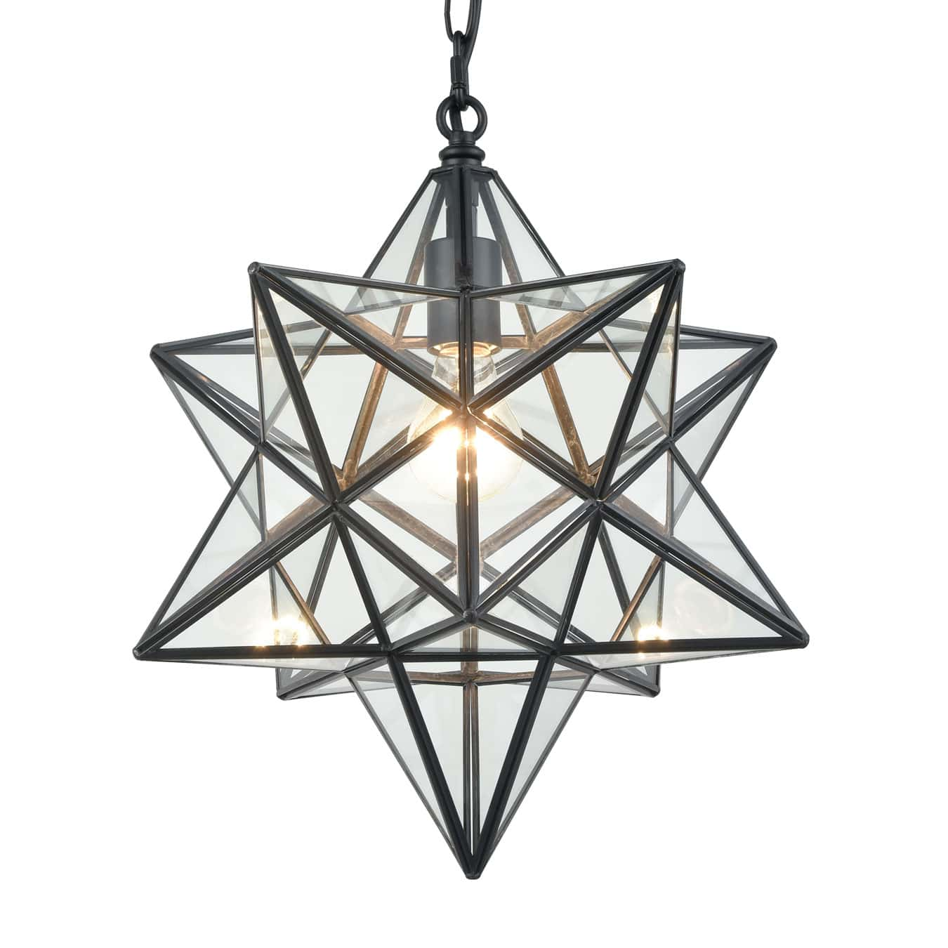 Modern Moravian Star Clear Glass Pendant Lights, 16 inches