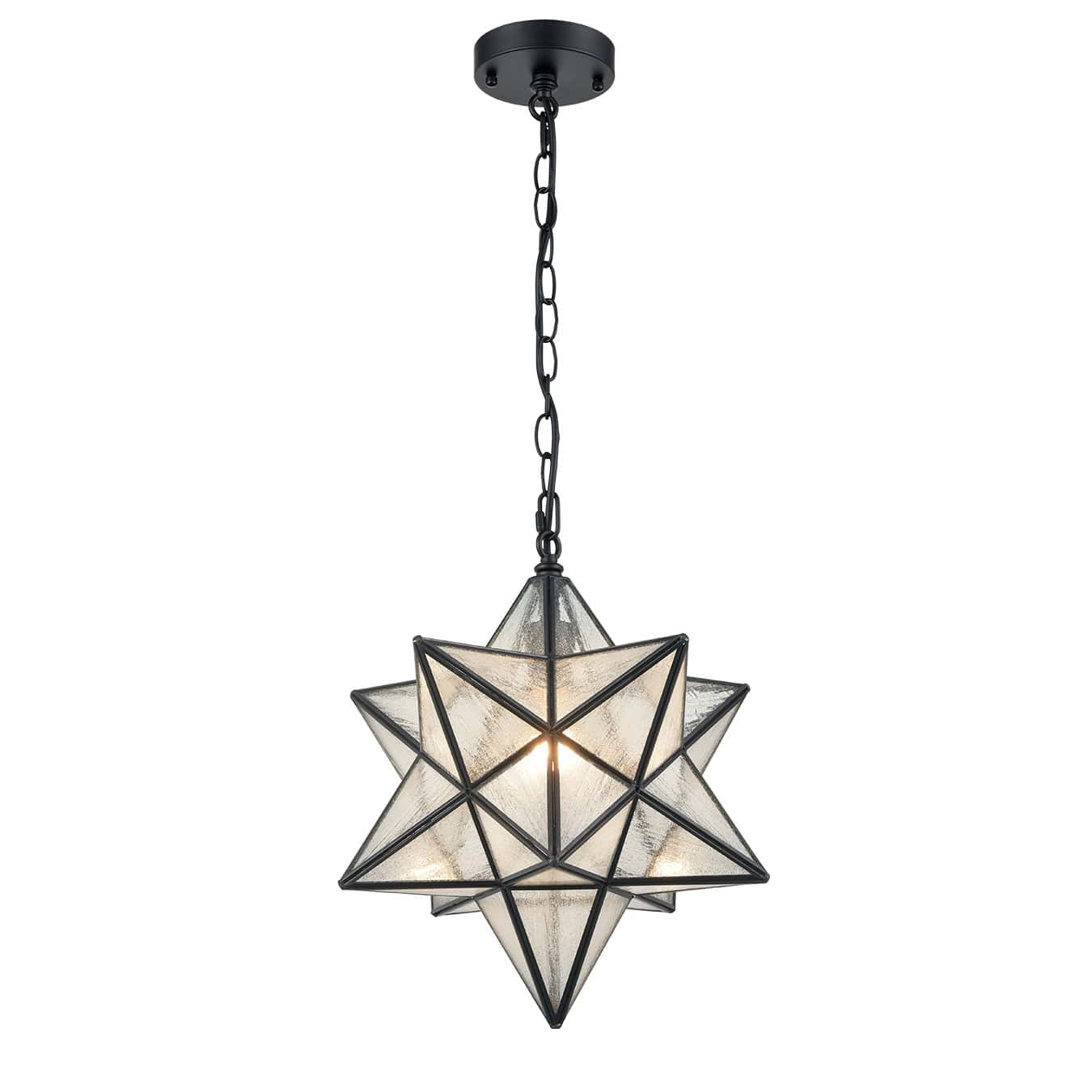 Modern Moravian Star Seeded Glass Pendant Lights, 16 inches