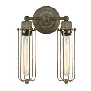 Rustic 2-Light Metal Cage Wall Sconces