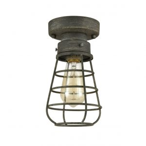 Rustic Ceiling Lights Metal Caged Mini Close to Ceiling Lamp