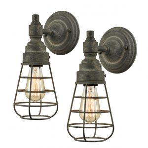Rustic Mini Cages Wall Lights Metal Bedside Sconce 2 Pack