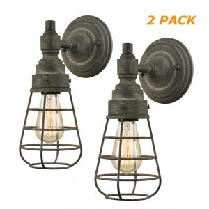 Rustic Retro Metal Cage Wall Lights Farmhouse Wall Sconces Set of 2