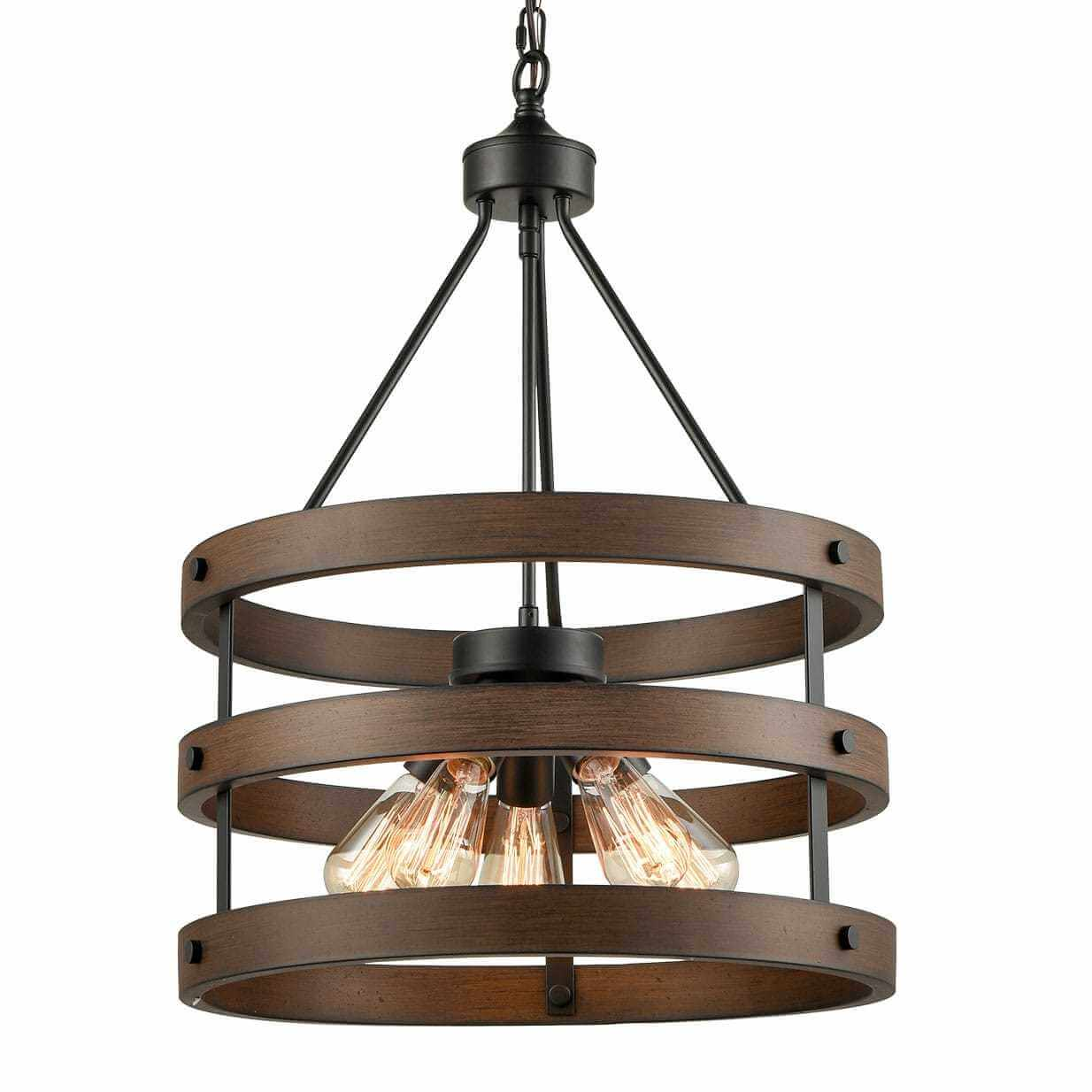 Rustic Wood Accent Circular Drum Chandeliers Vintage Large Pendant Light
