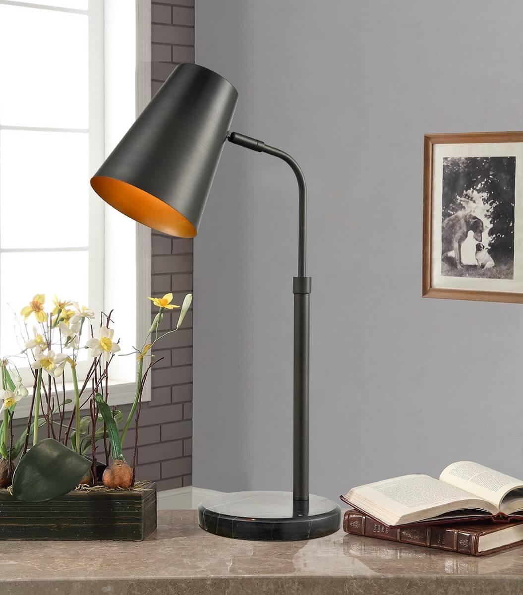 Swing Arm Reading Table Lamp Gray Marble Base Desk Bedroom Office Living Room Light