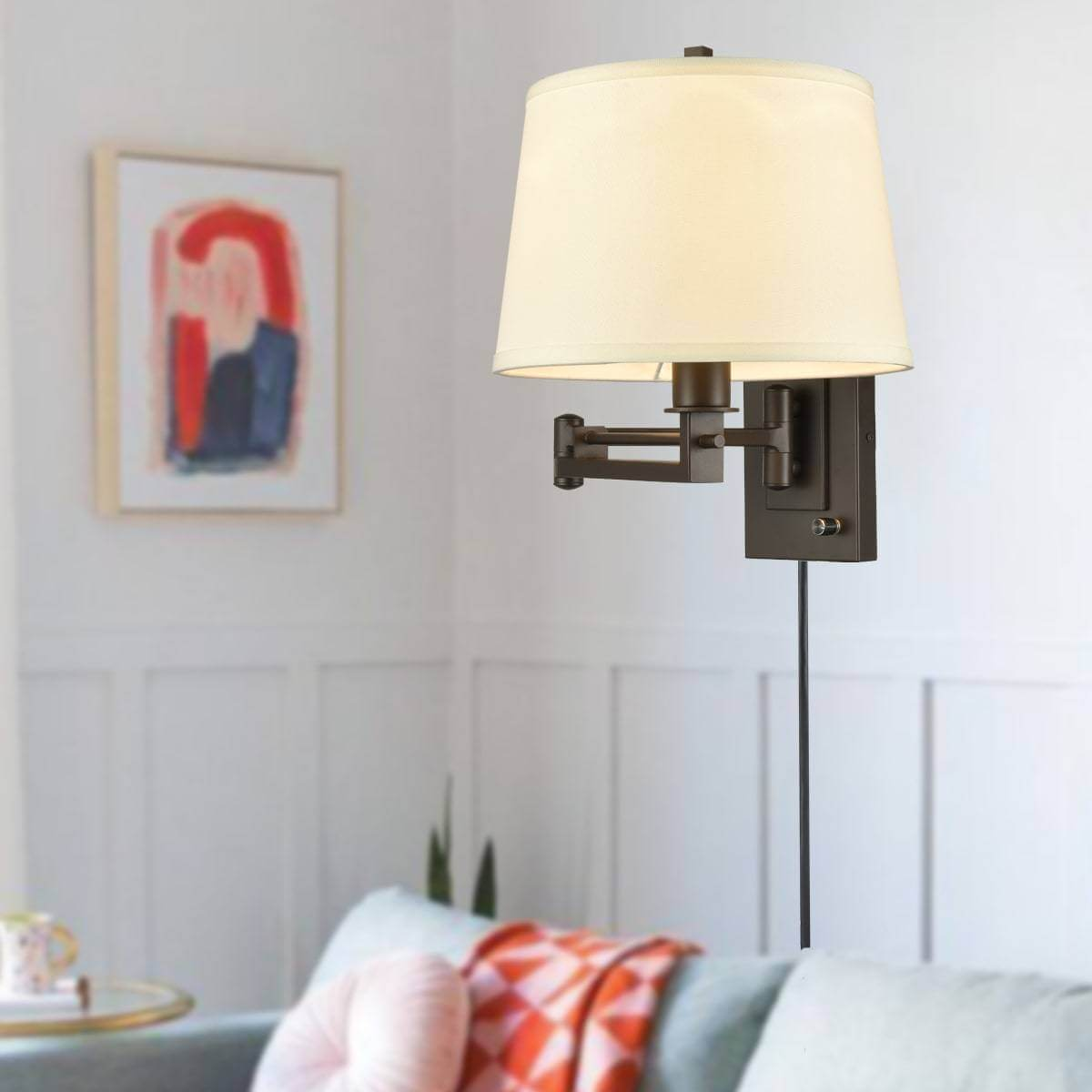 Swing Arm Wall Lamps Fabric Hardwired & Plug in Wall Lights