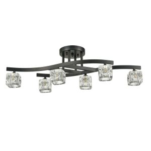 Vinatge Black Ceiling Lights Clear Glass Flush Mount Ceiling Lighting Fixture