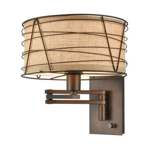 Vintage Bronze Swing Arm Wall Sconce Fabric Hardwired & Plug in Wall Lamp