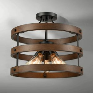 Vintage Circular Ceiling Lights Wood Accent Metal Cage Semi Flush Mount