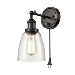 Vintage Glass Wall Sconces Plug in Wall Lights 2 Pack, Oil Rubbed Bronze