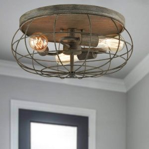 Vintage Metal Flush Mount Ceiling Light Fixture 3 Lights