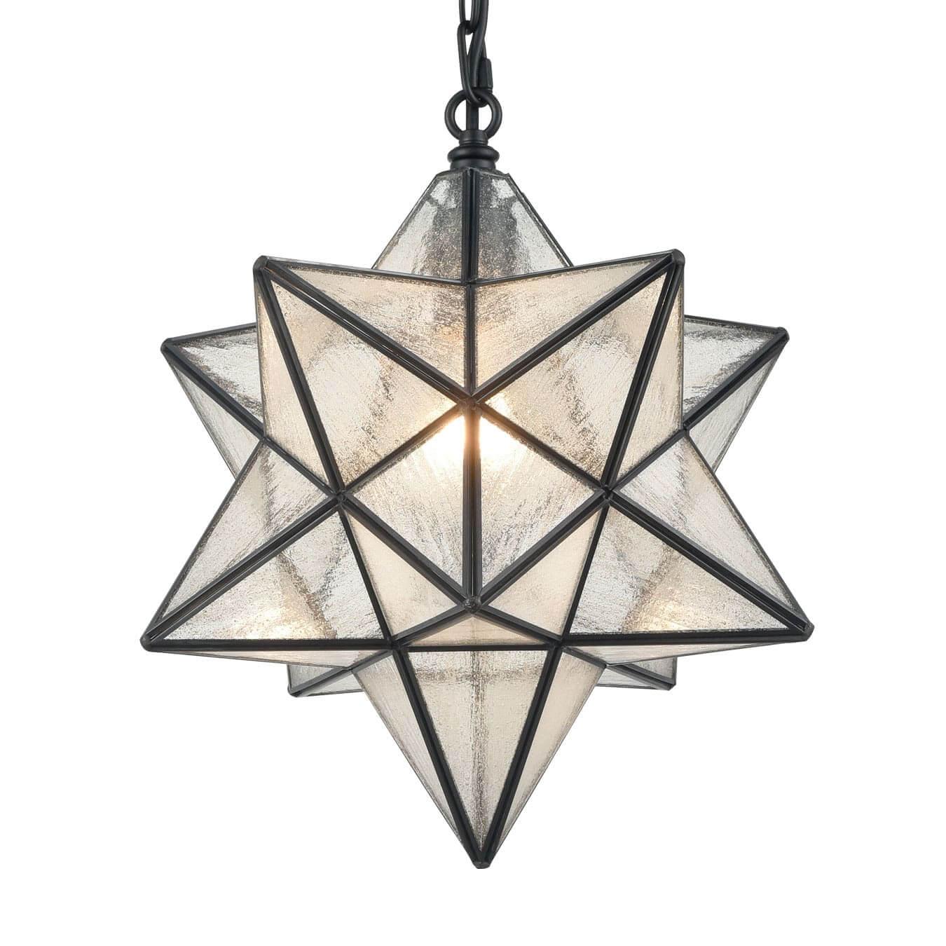 Vintage Moravian Star Seeded Glass Pendant Lights, 14-inch Diameter